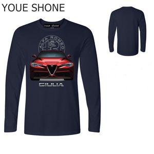 moda Alfa Romeo T Shirt Uomo stampa 3D Car Homme Tees Camicia Top cotone maschile Camiseta manica lunga