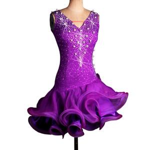 Robe sur mesure frangée Latin Dance Dress Femmes Filles Robe Tango Salsa D0175 3 couleurs choix manches Strass Perles Perle
