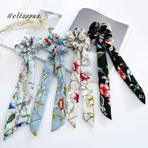 Helisopus Bandas para el cabello Arco de gasa Scrunchies de pelo largo Señoras Moda Vintage Floral Impreso Cuerda Mujeres Accesorios