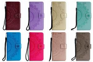 Pie de imprenta Datura Flor Cartera de cuero para Iphone 12 11 XR XS MAX X 8 7 6 Galaxy S20 A51 Tarjeta A71 en relieve Totem Encaje Mandala cubierta del tirón