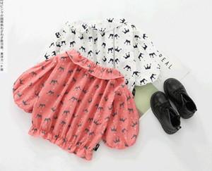 INS NUEVO primavera otoño camisa de la muchacha colmenas collar completo corona imprimir camisa de manga larga niños chica casual elegante camiseta 2 colores