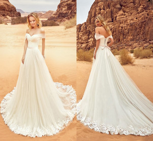 Off The Shoulder Aline Vestidos de Noiva Plissado Faixa de Fita de Tule Apliques de Espartilho Backless Beach Wedding Dresses 2018 Vestidos de Noiva