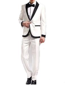 Brand New Shiny Elfenbein 2 Stück Anzug Männer Hochzeit Tuxdos Hohe Qualität Bräutigam Smoking Peak Revers One Button Männer Blazer (Jacke + Pants + Tie) 1318