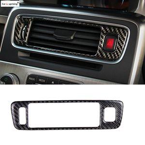 R дизайн углеродного волокна Car Center Console Outlet Кондиционер Vent Декоративная крышка рамки Наклейка для Volvo S60 V60