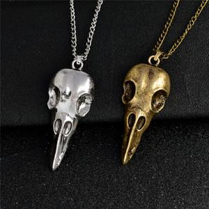 Anhänger Halskette Rabenschädel Vogel Totenkopf Anhänger Halskette Bronze Antik Silber Wikinger Schmuck Halskette für Männer