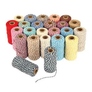 100 M * Double Couleur Coton Baker Corde Ficelle pour Accessoires À La Main Décoration De Noël cadeau DIY Emballage HBB12