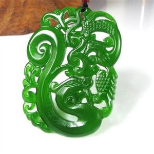 New Natural jade China Collana con pendente in giada verde Amuleto Lucky Dragon e Phoenix statue Collection Ornamenti estivi