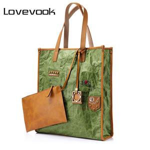 kraft kağıdı, retro LOVEVOOK kadınların büyük çanta büyük kapasiteli çantası kadın zarf model asılı omuz çantası kıvrımları