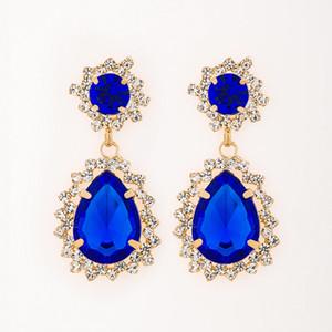 Accessoires de luxe élégant gem strass grande boucle d'oreille mode vintage stud boucle d'oreille gem boucles d'oreilles expédition de baisse # E067