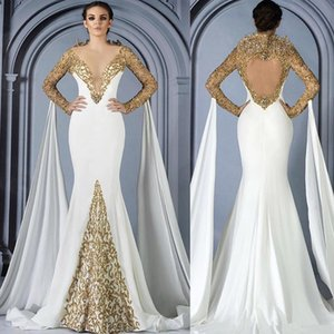 Luxury Gold Prom Dresses con Cape 2018 Luxury Beaded Lace Mermaid Dubai Arabic Tromba manica lunga abito da sera occasione