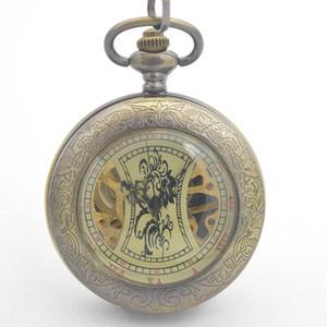 Mechanische Hand Wind Herren Taschenuhr Bronze Ton Durchsichtig Fall Römische Zahl Zifferblatt Reloj De Bolsillo