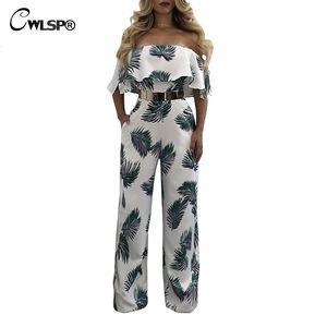 CWLSP Sexy Ruffles Jumpsuit per le donne 2018 Fashion Summer Jumysuit con stampa floreale Tuta fodera con pantaloni pieni QZ2601
