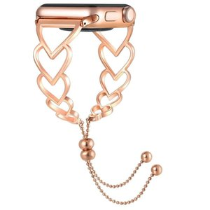 para el reloj de la joyería de manzana banda de 42 mm de 38 mm de metal elegante pulsera de aleación de la serie compatibles corazón de la manera Amor 4 5 40 mm 44 mm muchachas de las mujeres
