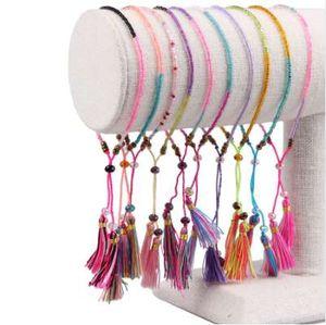 KELITCH Armband Schmuck Armbänder 10Pcs Kristall Seed Beads Bohemia Quaste Handmade Multicolor Freundschaft Armband