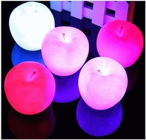 Venta al por mayor de siete colores cambiantes Led Apple Night Lights Lámpara Niños Regalos de cumpleaños Flash Toy Decoración Luces