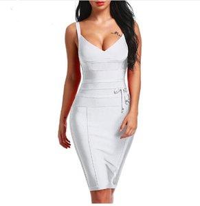 Femme Vestiti Club partito della cinghia di spaghetti del vestito dalla fasciatura Nuovo del V Backless moda Vestito aderente 2020 delle donne