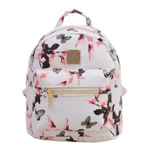 2017 mujeres de la moda de impresión floral de cuero mochila mochilas escolares para adolescentes lady travel pequeñas mochilas mochila feminina