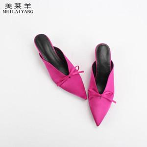 새로운 패션 여성 노새 나비 매듭 슬리퍼는 실크 정품 가죽 양모 메들 여성 신발 슬리퍼를 지적했다.