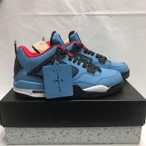 Con scatola New Travis x 4 4s IV Classic Houston University Blue Sports Scarpe da basket per uomo 4s Designer Sneakers da ginnastica Taglia 7-13