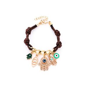 Main Hamsa Bracelet Fat Eye Bracelet pour les femmes en cuir pendentif en tricot lien pour les femmes bras Fatima de la mode Fatima # 289243
