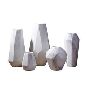 Scandinavian Marble Ceramic Vase Geometric Modern Design Ceramic Flower Vase Decoration Craft for Home Living Room Restaurant