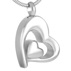 Мода Ювелирные изделия для мужчин Женщины из нержавеющей стали Двухместный сердечный кулон Серебро для золы Кремация из нержавеющей стали Урн Ожерелье