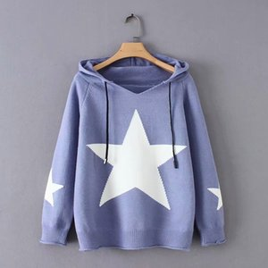 Free Size 2018 autumn winter fashion hoodies start print long sleeve knit pullover winter casual tops *56