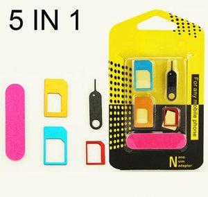 5 en 1 Nano Micro Estándar Sim Card Kit Adapter Converter con Sander Bar Tray Open Needle para iPhone 6 7 xiaomi