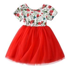 Increíble bebé niños niñas rosas rojas flores impresas sin respaldo vestido de tul de manga corta vestido de tutú de princesa