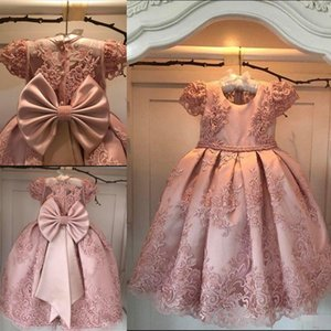 Blush Flower Girl Dresses Lace Big Bow Toddler Tulle Vintage Child Pageant Dresses Beautiful Princess Country Wedding Dresses Size 7 8 9