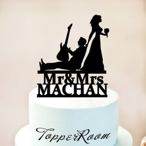 Guitar Player Cake Topper,Musician and Bride silhouette,Musician Wedding Cake Topper,Wedding Topper,Music Wedding Topp