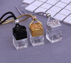 100 قطع مربعة الشكل زجاج زجاجات العطور قلادة 6 ملليلتر عطر فارغة شنقا سيارة الناشر زجاجة SN439