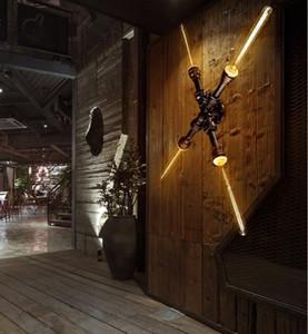로프트 레트로 산업 파이프 벽 램프 비품 빈티지 LED 벽 조명 디자이너 Wall Sconces Arandela 골동품 황동 마감 LLFA
