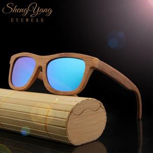 SHENGYANG Vintage Glass Bamboo Wood Sunglasses Women Men Retro UV400 Polarized Wooden Lens Sun Glasses Eyewear Frame Handmade