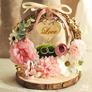 Forest Nest Ring pillow Bearer Pink flower Foto puntelli di fidanzamento decorazione matrimonio cuneo idea proposta matrimonio spedizione gratuita