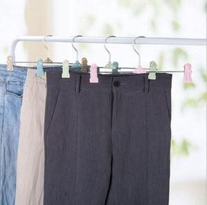 Pantalón multifuncional clip de pierna ajustable antideslizante clip de metal plástico percha percha falda niños percha de ropa perchero de almacenamiento