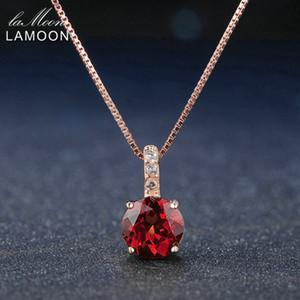 Lamoon 7mm 1.5ct 100% natürliche Runde rote Granat 925 Sterling Silber Kette Anhänger Halskette Frauen Schmuck S925 LMNI040