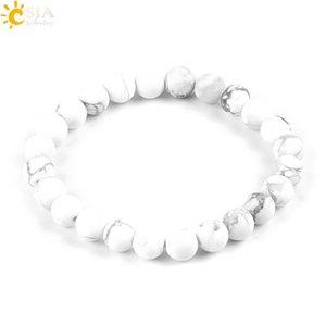 CSJA 8mmm Matte Glaze High Quality White Turquoz Howlite Lucky Gem Stone Mala Beads Strand Meditation Men Jewelle P042