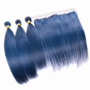 Sedoso color azul pelo 3 bundles con encaje Frontal 4pcs mucho gris extensiones de cabello azul con frontal 13x4 superior