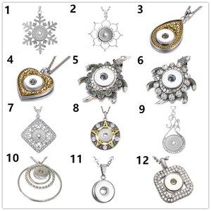 Женская мода 10 шт. Кристалл Черепаха ожерелье кулон для 18 мм Оснастки кнопки ювелирные изделия подарок с нержавеющей стали цепи длина 50 см