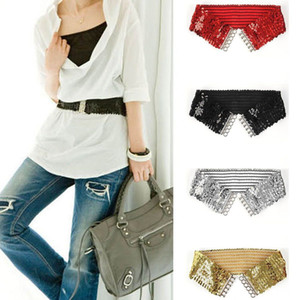 Romantic New Female Ladies Waistband Charms Women Elastic Sequin Belly Waist Belt Casual Stretch Belt Buckle Corset Wide