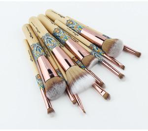 Toptan Yeni 12 ADET Makyaj Fırçalar Bambu Profesyonel Makyaj Fırça Seti Yumuşak Sentetik Kozmetik Fırça Seti