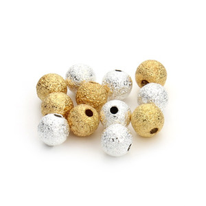 100pcs lot 4 6 8mm Gold Silver Round Copper Spacer Beads Frosted Ball End Seed Beads For Necklace Bracelet Jewelry Making F3461