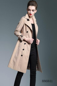 HOT CLASSIC! WOMEN FASHION ENGLAND PLUS LONG TRENCH COAT BRITISH BRAND DESIGNER DOUBLE BREASTED SLIM BELTED TRENCH FOR WOMEN B6841F340 S-XXL