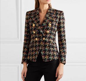 Nouveau Style Top Quality Design original Blazer à double boutonnage Blazer en métal Blazer Vérifier texturé Tweed Slim Jacket Court manteau d'avant-vêtement