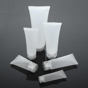 Leeren Sie nachfüllbare durchscheinende bereifte Plastikreise-kosmetische Make-upweiche Schlauch-Behälter-Flasche mit Flip Cap Cleaner Lotion Cream Bottles