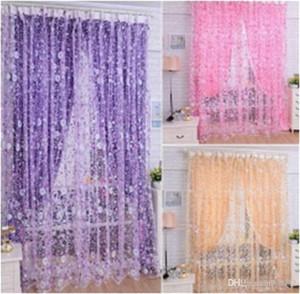 Печать цветочные вуаль дверь Sheer шторы доказательство воды номер простой практичный занавес окна для гостиной скрининг хорошее качество 11hb ДД