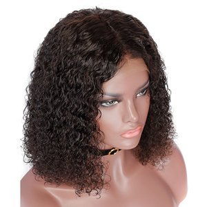 13x6 curly bob lace front human hair wg pre plucked water wave 360 lace frontal wig 130%density brazilian hair wig