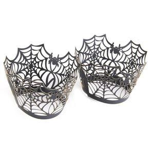 50pcs Spiderweb Laser Cutcake 포장 씌워 라이너 결혼식 생일 파티 Halloween Cake Decoration (Black)