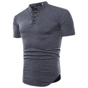 Lace-up colarinho dos homens t shirt preto branco cor sólida algodão casual T shirt dos homens de moda de manga curta verão tops roupas t-shirt